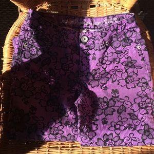 Justice purple jean w black embroidery